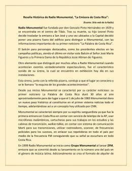 """Reseña Histórica de Radio Monumental, """"La Emisora de Costa Rica"""