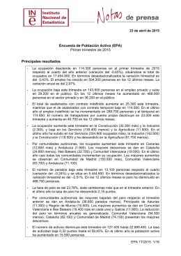 Encuesta de Población Activa (EPA) - Instituto Nacional de Estadística