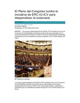 El Pleno del Congreso tumba la iniciativa de ERC-IU