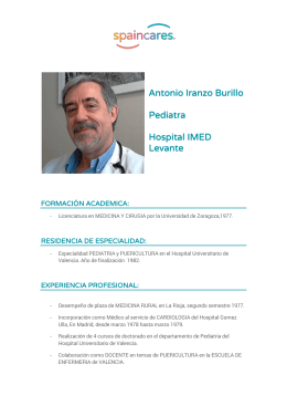 Antonio Iranzo Burillo Pediatra Hospital IMED Levante