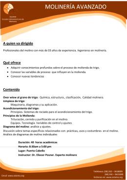 CURSO AVANZADO DE MOLINERÍA