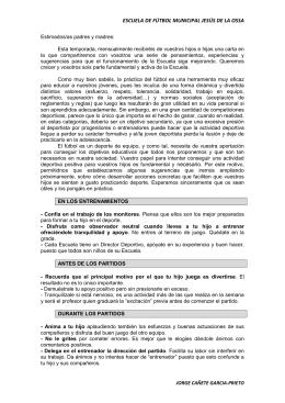 Carta a los padres - Escuela de Fútbol Jesús de la Ossa. Tarancón