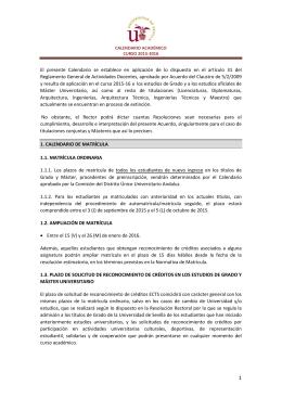 Calendario Académico Curso 2015/2016