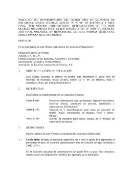 nmx-f-274-1984. determinación del grado brix en muestras de