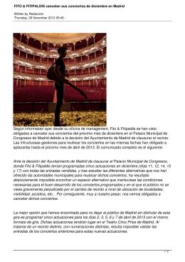 FITO & FITIPALDIS cancelan sus conciertos de diciembre en Madrid