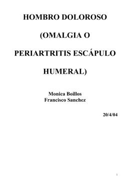 hombro doloroso (omalgia o periartritis escápulo humeral)