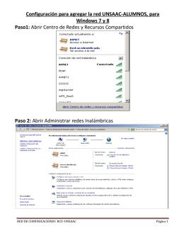 Configuración para agregar la red UNSAAC