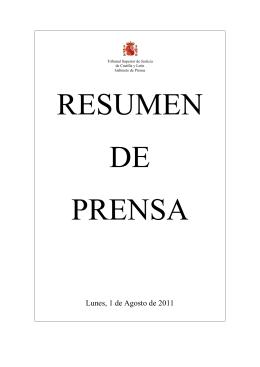 resumen de prensa lunes 1 de agosto de 2011