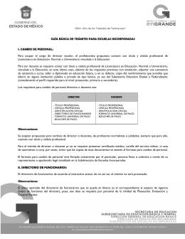 GUÍA BÁSICA DE TRÁMITES PARA ESCUELAS INCORPORADAS I