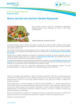 Nuevo servicio de nutrición Sanitas Responde