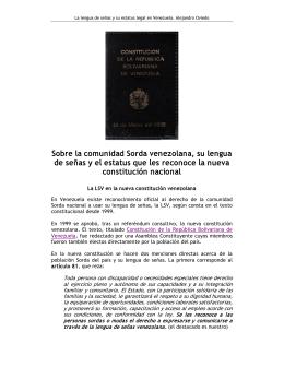 Sobre la comunidad Sorda venezolana, su lengua