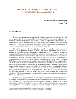 """LO """"INCA"""" EN LA ARQUITECTURA COLONIAL EL"""
