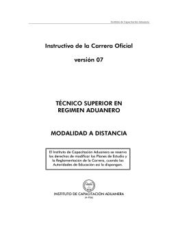 Instructivo de la Carrera Oficial versión 07 TÉCNICO SUPERIOR EN
