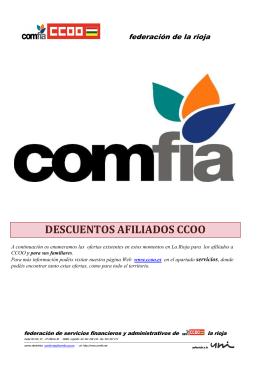 Impresión folleto descuentos - Comfia-CCOO
