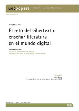El reto del cibertexto: enseñar literatura en el mundo digital