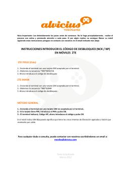 instrucciones introducir el código de desbloqueo (nck / np)