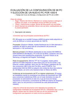 evaluación de la configuración de mi pc y elección de un nuevo pc
