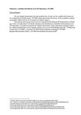 Variables del Sistema en la ZX Spectrum y TS 2068