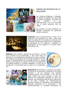 RAMAS DE ESTUDIO DE LA BIOLOGÍA