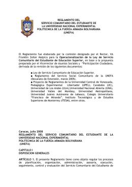 Reglamento del Servicio Comunitario Unefa 2008
