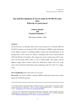 Size and Development of Tax Evasion in 38 OECD coun