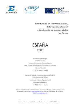 Estructuras de los sistemas educativos, de formación profesional y