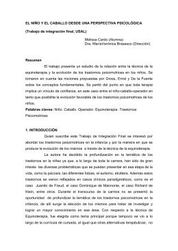 EL NIÑO Y EL CABALLO DESDE UNA PERSPECTIVA PSICOLÓGICA