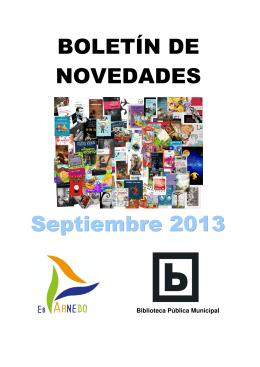Descargar Folleto Novedades Biblioteca. Libros septiembre 2013