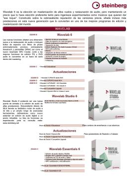 Wavelab 6 Actualizaciones Wavelab Studio 6 Actualizaciones