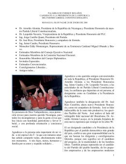 Discurso en Convención del Partido Liberal Constitucionalista (PLC