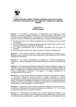 norma sanitaria sobre criterios microbiologicos de calidad sanitaria