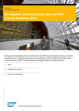 Novedades: Características clave de SAP Crystal Solutions