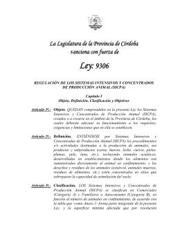Ley Nº 9306 - Cámara Argentina de Feedlot