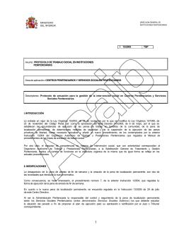 I 15/2005 TGP Asunto: PROTOCOLO DE TRABAJO SOCIAL