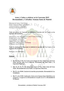 Actos y Cultos a celebrar en la Cuaresma 2015 Hermandades y