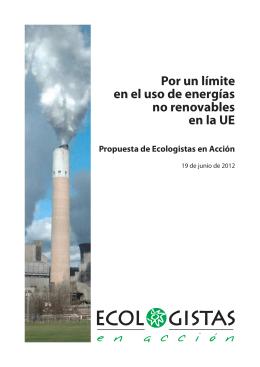 Por un límite en el uso de energías no renovables en la UE