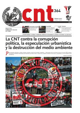 La CNT contra la corrupción política, la especulación urbanística y