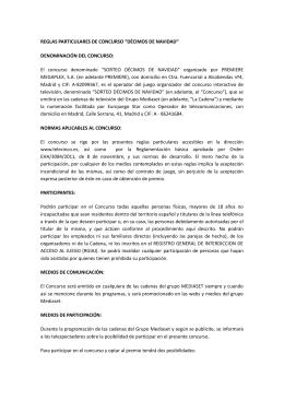 """REGLAS PARTICULARES DE CONCURSO """"DÉCIMOS DE"""