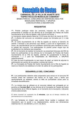 NORMAS CONCURSO DE DISFRACES CARNAVAL AGAETE 2015