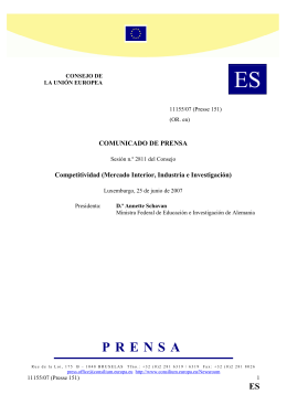 Mercado Interior, Industria e Investigación