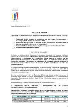 Informe de Monitoreo de Medios correspondiente a octubre 2011