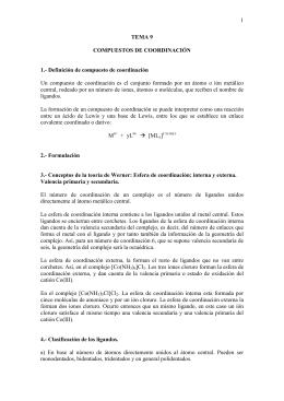 1 TEMA 9 COMPUESTOS DE COORDINACIÓN 1.