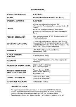 FICHA MUNICIPAL NOMBRE DEL MUNICIPIO BLUEFIELDS