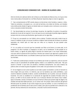 COMUNICADO COMANDO SVR – BARRA DE ALIANZA LIMA