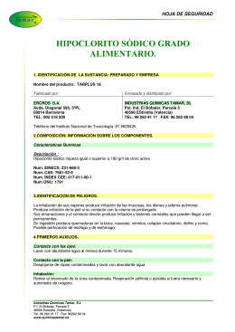 HIPOCLORITO SÓDICO GRADO ALIMENTARIO.