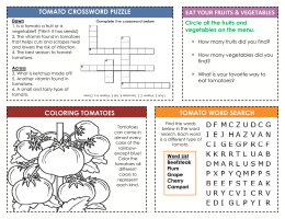 tomato crossword puzzle eat your fruits & vegetables coloring