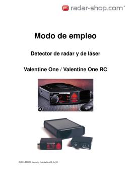 manual de instrucciones de su detector radar Valentine One