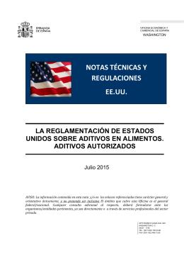 la reglamentación de estados unidos sobre aditivos en