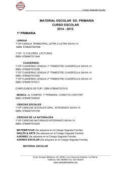 material escolar ed. primaria curso escolar 2014 2015 1º primaria