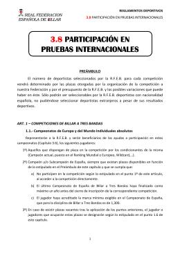 Participación en Pruebas Internacionales